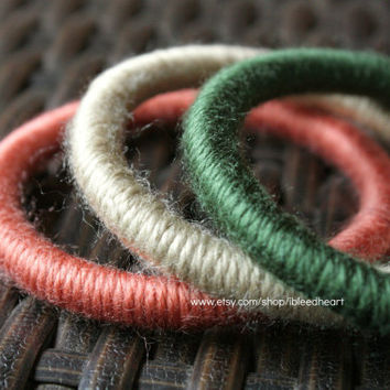 Three Yarn Wrapped Bangle Bracelets - Tan, Orange, and Dark Green