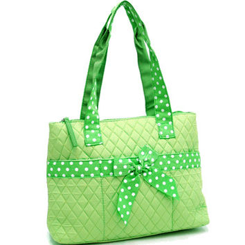 Quilted Medium Diaper Bag w/ Bow & Polka Dot Trim - Green Color: Green