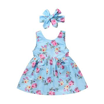 Cute Toddler Baby Girls Floral Cotton Dress Kid Summer Party Formal Dresses Children Enfant Girl Casual Sleeveless Sundress 0-4T