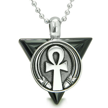 Amulet Ankh Egyptian Powers of Life Pyramid Energies Black Agate Pendant 18 Inch Necklace