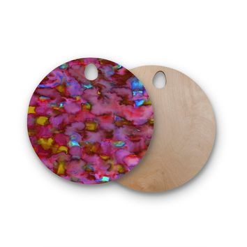 "Miranda Mol ""Dreamy Clouds Pink"" Pink Magenta Abstract Pattern Watercolor Painting Round Wooden Cutting Board"