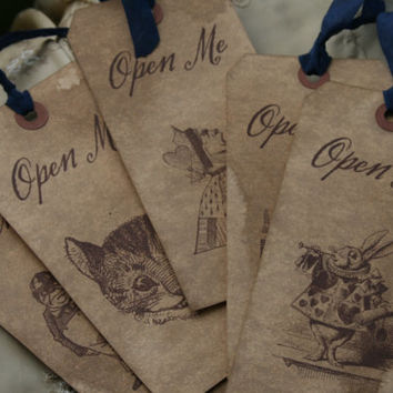 "ALICE IN WONDERLAND - ""Open Me"" tags or bookmarks - choice of ribbon and character - set of 10"