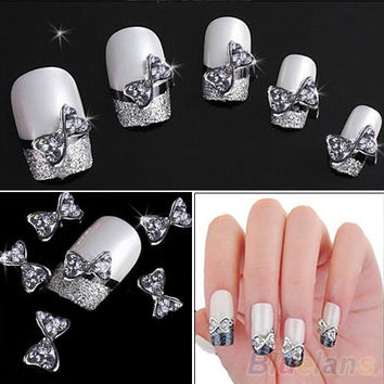 10x 3D Nail Art Silver Alloy Bow Tie Bowtie Rhinestones Glitters DIY Nail Art Decoration 0003 0123