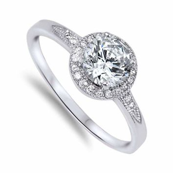 1.25ctw Women's Round Halo CZ Sterling Silver Wedding Band Engagement Ring Band