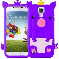 niceeshop(TM) Purple 3D Happy Crown Pig Soft Silicone Gel Case Cover for Samsung Galaxy S4 i9500 + Screen Protector