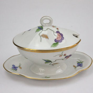 Condiment Tureen with Attached Underplate / Richard Ginori Porcelain