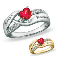 10K Gold Couple's Birthstone Heart Ring with Cubic Zirconia Accents by ArtCarved® (1 Stone and 2 Names)
