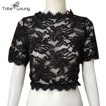 Size XL New Sexy Lace Transparent Cropped Tops For Women See Through Sheer Stretch Short Sleeve Blouse Shirt Tees Clubwear femme
