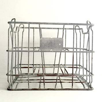 Vintage Industrial Crate / Galvanized Metal / Metal Storage Bin/  Wine Holder/ Milk Crate