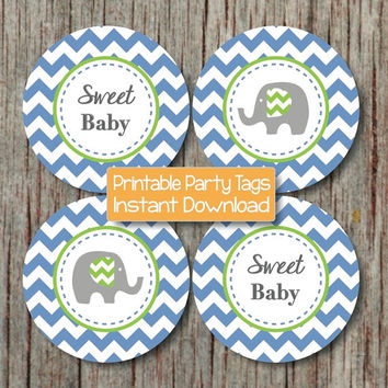 Baby Shower Decoration Elephant Cupcake Toppers Ocean Blue Lime Green Chevron Favor Tags Printable Party Sweet Baby diy INSTANT DOWNLOAD 194