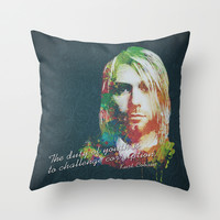 Colorful Kurt Donald Cobain (The duty of youth is to challenge corruption) Throw Pillow by Nirvana.Design | Society6