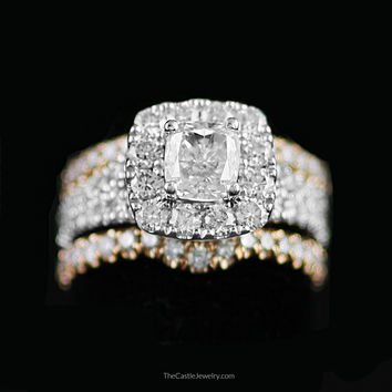 Stunning Designer Neil Lane Cushion Cut Diamond Bridal Set in White & Rose Gold