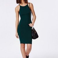 Missguided - 90's High Neck Midi Dress Deep Green