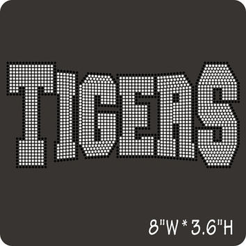Tigers rhinestone hot fix iron on heat transfer - DIY sports team school mascot tiger