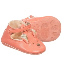 Girls Pink Leather Bear 'Loulou' Pre-Walker Shoes
