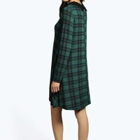 Ruby Checked Collar Swing Dress