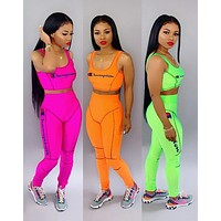 Champion Fashion Woman Casual Print Sleeveless Vest Top Pants Set Two Piece Sportswear