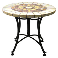 Outdoor Interiors Marble Mosaic Accent Table - Cream/Tan