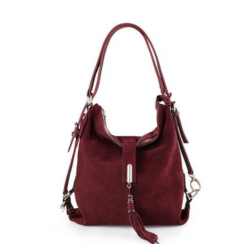 Split Suede Leather Leisure Hobo Shoulder Bags