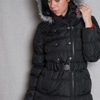 Urban Republic Belted Puffer Coat With Faux Fur Trim Hood And Contrast Lining - Black