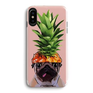 iPhone X Pineapple Fruit Hat Pug Pet Dog Clear Rubber Case-Tropical Funny Upper Pineapple Cute Summer Hipster Hawaii Fruit iPhone X Clear Case Cover