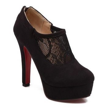 Ankle Boots With Lace and Suede Design