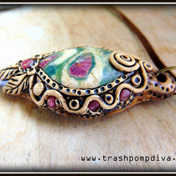 Ruby in Fuchsite Cabochon, Pink Tourmaline Reiki Crystal Healing Pendant P-317