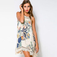 New Women Lace Hollow Floral Pattern Loose Cocktail Party Mini Dress = 1946469124