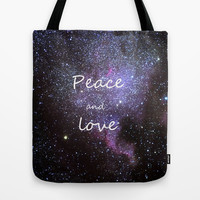 Peace and love. Christmas time. Tote Bag by Guido Montañés