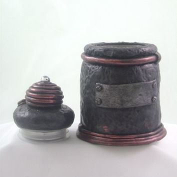 Lidded jar glass with polymer clay industrial style stash jar