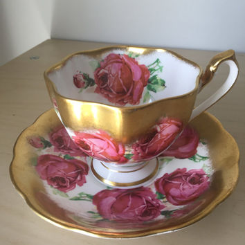 Queen Anne Rose Vintage Teacup and Saucer, Heavy Gold Tea Cup and Saucer, Pink Floral English Bone China