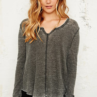 Ecote Swing Split Neck Top in Black - Urban Outfitters