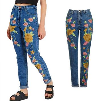 Fashion Retro Multicolor Embroidery Flower Casual Jeans Pants Trousers