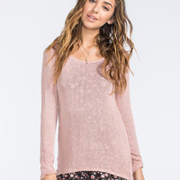 Full Tilt Hooded Womens Hachi Knit Hi Low Top Blush  In Sizes