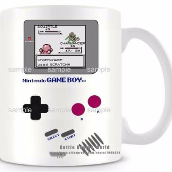 DIY New Gameboy Ceramic white coffee tea milk mug  funny novelty travel cup Personalized Birthday Easter giftsKawaii Pokemon go  AT_89_9