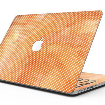The Orange Watercolor Surface with Slanted White Lines - MacBook Pro with Retina Display Full-Coverage Skin Kit