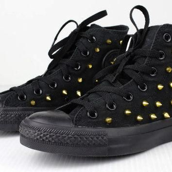 Golden Spiked Black Converse High-Tops Assorted Men's and Women's Sizes - Free US Ship
