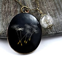 Dandelion by night II - Large genuine vintage bronze locket enameled with dandelions plus real dandelion seed charm on long necklace.
