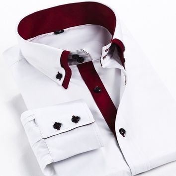 Double layer collar casual business shirts