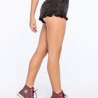 Full Tilt Mineral Wash Womens Shorts Black  In Sizes