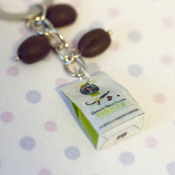 Miniature Starbucks Coffee Bag with Coffee Beans Key Chain