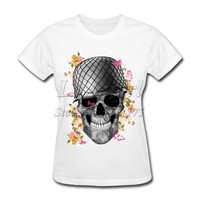 2017 New Fashion Women's Army Skull Printed T shirt popular Tops Novelty Flower Lady Casual Short Sleeve Tees