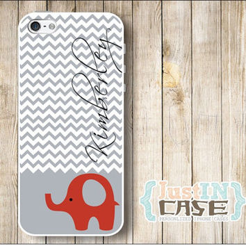 Cute Animal Chevron Elephant Monogram Personalized iPhone 4/4s/5/5s Case,Elephant Samsung Galaxy s3/s4 Phone Cover,Initials Monogrammed Grey