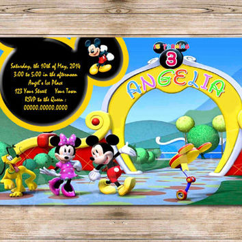 Mickey Mouse Birthday Invitation, Minnie Mouse Invitation, Minnie Mickey Donald Goofy Daisy