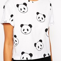 ASOS Cropped Boyfriend T-Shirt With Panda Print at asos.com