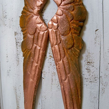 Wood wings rusty copper carved French Santos style wooden vignette shelf wall sculpture home decor Anita Spero