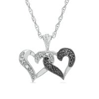 Enhanced Black and White Diamond Double-Heart Pendant in Sterling Silver