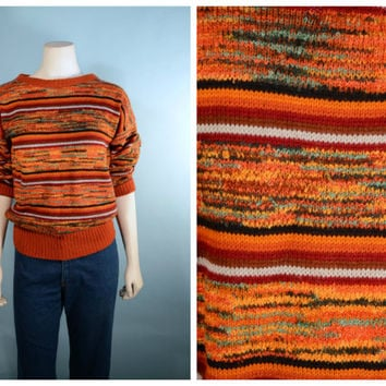 Vintage 70s Rust Striped Cropped Sweater/ Crewneck Hipster Grunge Colorblock Jumper/ Kawaii Tomboy Roller Disco Top/ Preppy School Girl S/M
