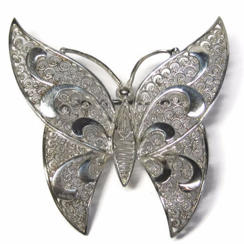 Vintage German Sterling Filigree Butterfly Brooch