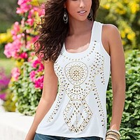 White Multi (WHMU) Studded Medallion Top